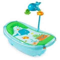 Summer Infant-09256-Set cadita, suport de baita si bara de jucarii Ocean Buddies – Blue