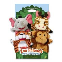 Melissa&Doug Set 4 papusi de mana Zoo Melissa and Doug
