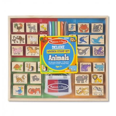 Melissa&Doug Set stampile din lemn Animale Deluxe